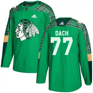 Youth Chicago Blackhawks Kirby Dach Adidas Authentic St. Patrick's Day Practice Jersey - Green