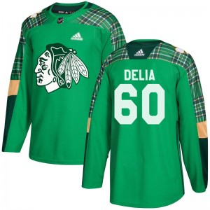 Youth Chicago Blackhawks Collin Delia Adidas Authentic St. Patrick's Day Practice Jersey - Green
