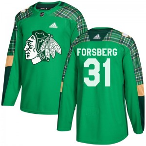 Youth Chicago Blackhawks Anton Forsberg Adidas Authentic St. Patrick's Day Practice Jersey - Green