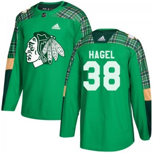 Youth Chicago Blackhawks Brandon Hagel Adidas Authentic St. Patrick's Day Practice Jersey - Green