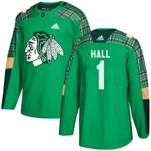 Youth Chicago Blackhawks Glenn Hall Adidas Authentic St. Patrick's Day Practice Jersey - Green
