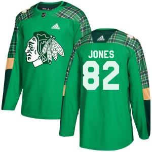 Youth Chicago Blackhawks Caleb Jones Adidas Authentic St. Patrick's Day Practice Jersey - Green