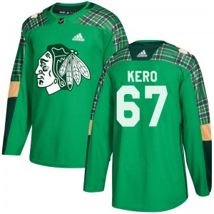 Youth Chicago Blackhawks Tanner Kero Adidas Authentic St. Patrick's Day Practice Jersey - Green
