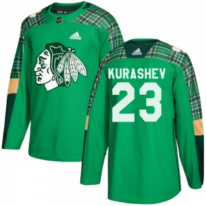 Youth Chicago Blackhawks Philipp Kurashev Adidas Authentic St. Patrick's Day Practice Jersey - Green