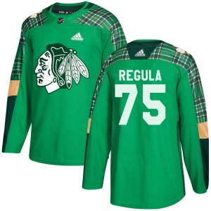 Youth Chicago Blackhawks Alec Regula Adidas Authentic St. Patrick's Day Practice Jersey - Green