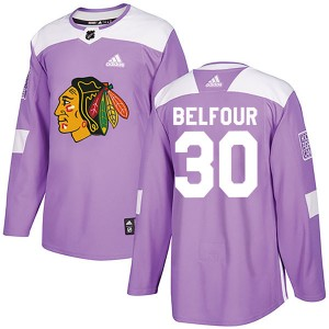 Youth Chicago Blackhawks ED Belfour Adidas Authentic Fights Cancer Practice Jersey - Purple