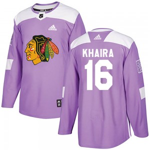 Youth Chicago Blackhawks Jujhar Khaira Adidas Authentic Fights Cancer Practice Jersey - Purple