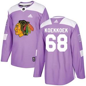 Youth Chicago Blackhawks Slater Koekkoek Adidas Authentic Fights Cancer Practice Jersey - Purple