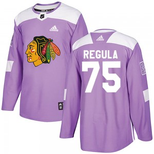 Youth Chicago Blackhawks Alec Regula Adidas Authentic Fights Cancer Practice Jersey - Purple