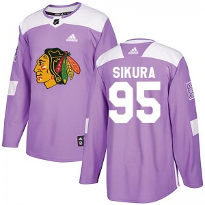 Youth Chicago Blackhawks Dylan Sikura Adidas Authentic Fights Cancer Practice Jersey - Purple