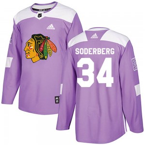 Youth Chicago Blackhawks Carl Soderberg Adidas Authentic Fights Cancer Practice Jersey - Purple