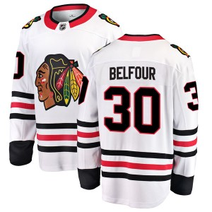 Men's Chicago Blackhawks ED Belfour Fanatics Branded Breakaway Away Jersey - White