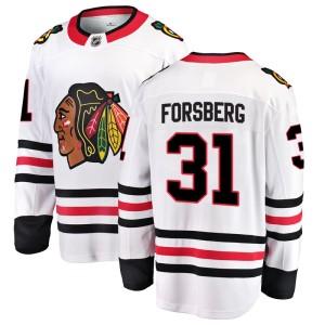 Men's Chicago Blackhawks Anton Forsberg Fanatics Branded Breakaway Away Jersey - White