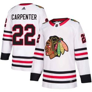 Youth Chicago Blackhawks Ryan Carpenter Adidas Authentic Away Jersey - White
