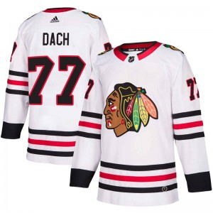 Youth Chicago Blackhawks Kirby Dach Adidas Authentic Away Jersey - White
