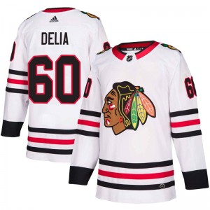 Youth Chicago Blackhawks Collin Delia Adidas Authentic Away Jersey - White