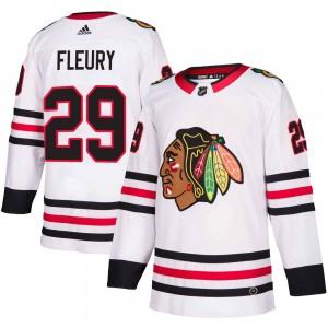 Youth Chicago Blackhawks Marc-Andre Fleury Adidas Authentic Away Jersey - White
