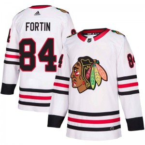 Youth Chicago Blackhawks Alexandre Fortin Adidas Authentic Away Jersey - White