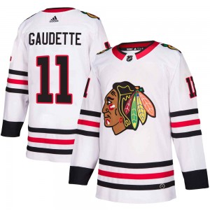 Youth Chicago Blackhawks Adam Gaudette Adidas Authentic Away Jersey - White