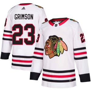Youth Chicago Blackhawks Stu Grimson Adidas Authentic Away Jersey - White