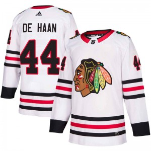 Youth Chicago Blackhawks Calvin de Haan Adidas Authentic Away Jersey - White