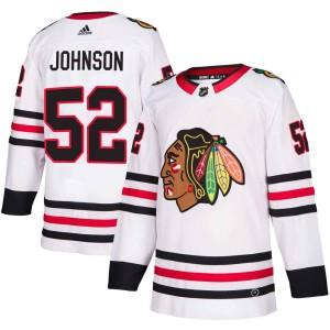 Youth Chicago Blackhawks Reese Johnson Adidas Authentic Away Jersey - White