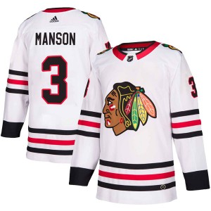 Youth Chicago Blackhawks Dave Manson Adidas Authentic Away Jersey - White