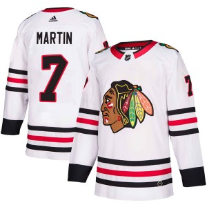 Youth Chicago Blackhawks Pit Martin Adidas Authentic Away Jersey - White