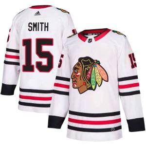 Youth Chicago Blackhawks Zack Smith Adidas Authentic Away Jersey - White