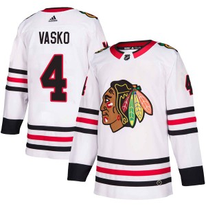 Youth Chicago Blackhawks Elmer Vasko Adidas Authentic Away Jersey - White