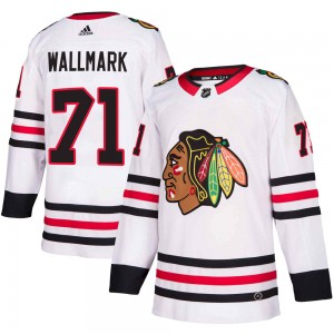 Youth Chicago Blackhawks Lucas Wallmark Adidas Authentic Away Jersey - White