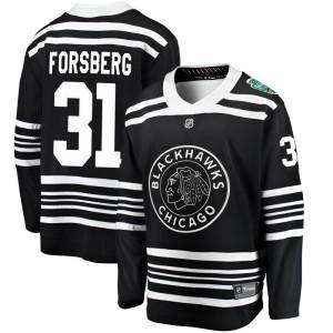 Men's Chicago Blackhawks Anton Forsberg Fanatics Branded 2019 Winter Classic Breakaway Jersey - Black