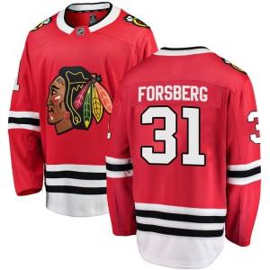 Men's Chicago Blackhawks Anton Forsberg Fanatics Branded Breakaway Home Jersey - Red