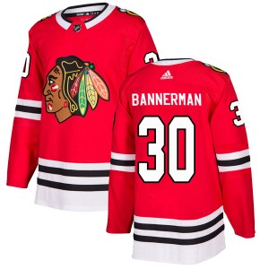 Men's Chicago Blackhawks Murray Bannerman Adidas Authentic Home Jersey - Red