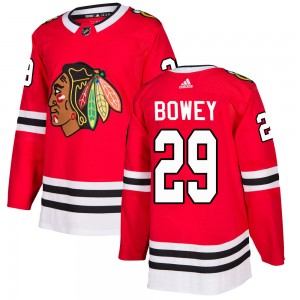 Men's Chicago Blackhawks Madison Bowey Adidas Authentic Home Jersey - Red