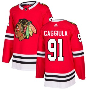Men's Chicago Blackhawks Drake Caggiula Adidas Authentic Home Jersey - Red