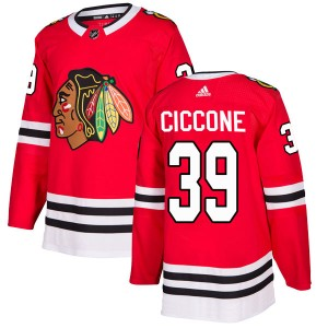 Men's Chicago Blackhawks Enrico Ciccone Adidas Authentic Home Jersey - Red