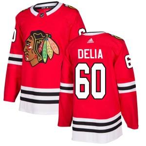 Men's Chicago Blackhawks Collin Delia Adidas Authentic Home Jersey - Red