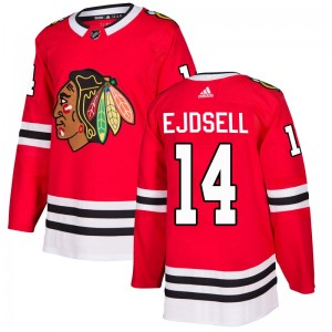 Men's Chicago Blackhawks Victor Ejdsell Adidas Authentic Home Jersey - Red