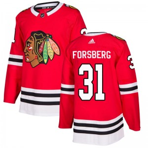 Men's Chicago Blackhawks Anton Forsberg Adidas Authentic Home Jersey - Red
