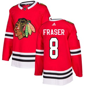 Men's Chicago Blackhawks Curt Fraser Adidas Authentic Home Jersey - Red