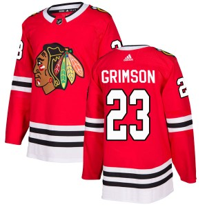 Men's Chicago Blackhawks Stu Grimson Adidas Authentic Home Jersey - Red