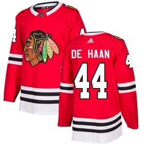 Men's Chicago Blackhawks Calvin de Haan Adidas Authentic Home Jersey - Red