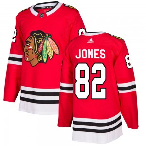 Men's Chicago Blackhawks Caleb Jones Adidas Authentic Home Jersey - Red