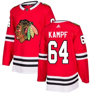 Men's Chicago Blackhawks David Kampf Adidas Authentic Home Jersey - Red