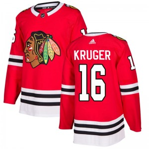 Men's Chicago Blackhawks Marcus Kruger Adidas Authentic Home Jersey - Red