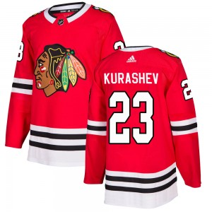 Men's Chicago Blackhawks Philipp Kurashev Adidas Authentic Home Jersey - Red