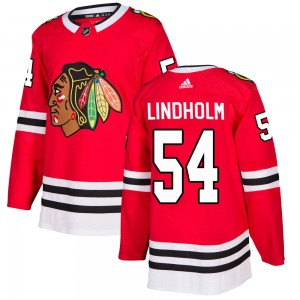 Men's Chicago Blackhawks Anton Lindholm Adidas Authentic Home Jersey - Red