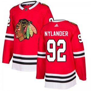 Men's Chicago Blackhawks Alexander Nylander Adidas Authentic Home Jersey - Red