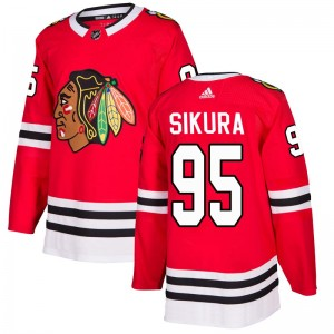 Men's Chicago Blackhawks Dylan Sikura Adidas Authentic Home Jersey - Red